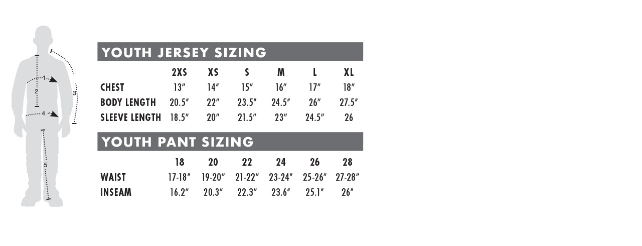 Youth Racewear Sizing